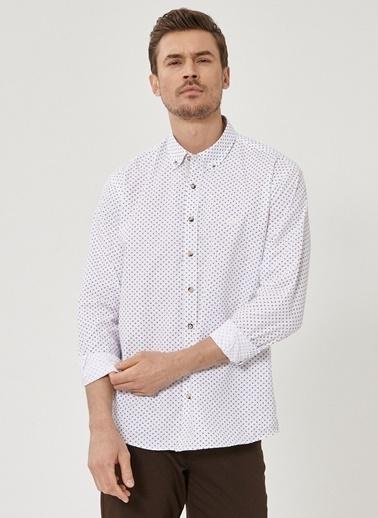 Beymen Business Comfort Fit Baskılı Gömlek 4B2020200004 Beyaz